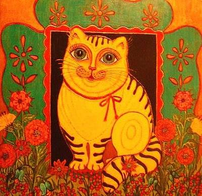 Greeting Card - Yellow Cat by Rae Chichilnitsky