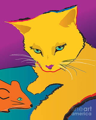 Painting - Yellow Cat by Robyn Saunders