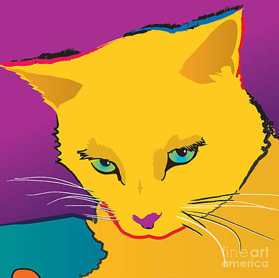 Yellow Cat Square Art Print