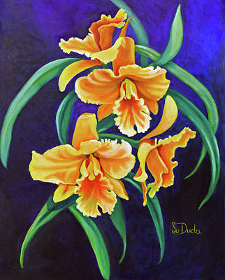 Painting - Yellow Cattlya Orchids by Susan Duda