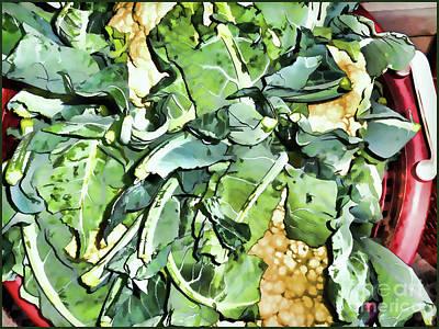 Cauliflower Painting - Yellow Cauliflowers  by Lanjee Chee