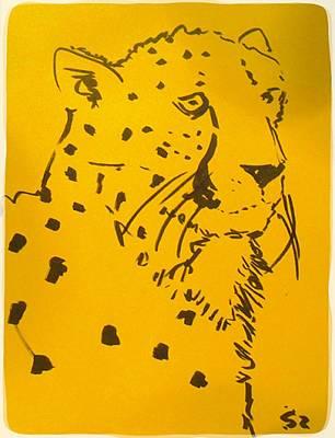 Cheetah Drawing - Yellow Cheetah by Samuel Zylstra