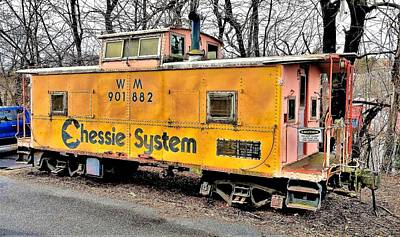 Photograph - Yellow Chessie Caboose by Jim Harris