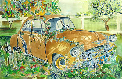 Old Junk Car Painting - Yellow Chevy by Karen Merry