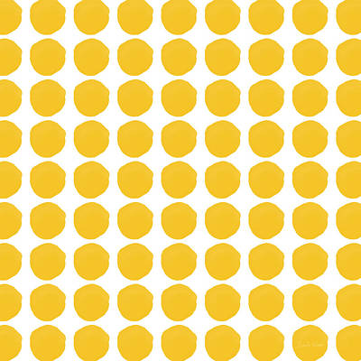 Modern Contemporary Art Mixed Media - Yellow Circles- Art By Linda Woods by Linda Woods