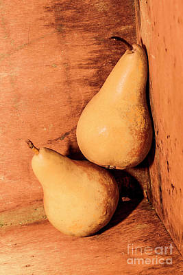 Photograph - Yellow Colored Pears On Wooden Background by Jorgo Photography - Wall Art Gallery