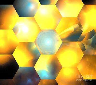 Digital Art - Yellow Copper Honeycomb by Kim Sy Ok