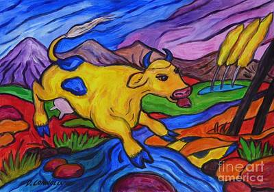 Painting - Yellow Cow Jumps A Creek by Dianne  Connolly