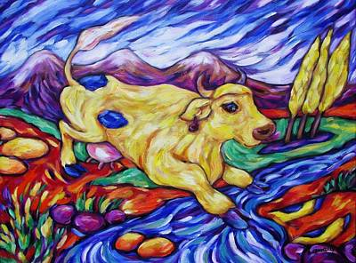 Painting - Yellow Cow Jumps The Creek by Dianne  Connolly