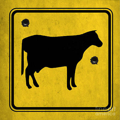 Asphalt Drawing - Yellow Cow by Pablo Franchi