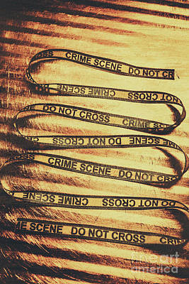 Security Photograph - Yellow Crime Scene Ribbon On Metal Background by Jorgo Photography - Wall Art Gallery