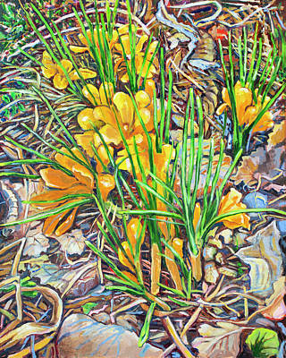 Painting - Crossed Crocus by Ann Heideman