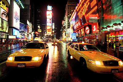 City Streets Photograph - Yellow Crown Cabs by Sean Davey