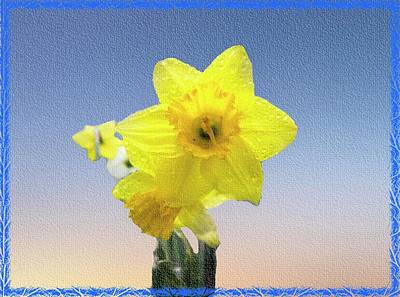 Digital Art - Yellow Daffodil On Canvas by Rusty R Smith