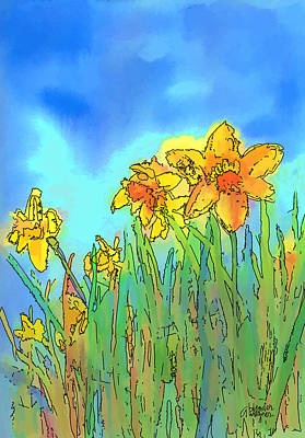 Narcissus Digital Art - Yellow Daffodils by Arline Wagner