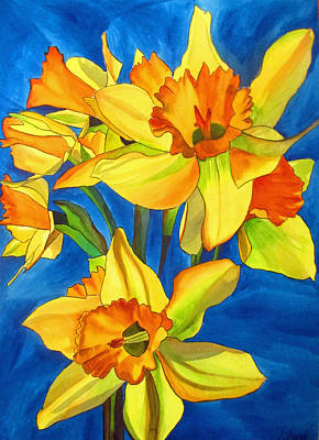 Vivid Colour Painting - Yellow Daffodils by Sacha Grossel
