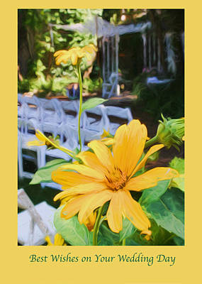 Photograph - Yellow Daisies At Wedding Greeting Card by Ginger Wakem