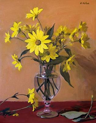 Painting - Yellow Daisies In Glass Grecian Urn by Robert Holden