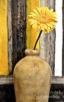 Photograph - Yellow Daisy In Pottery by Marsha Heiken