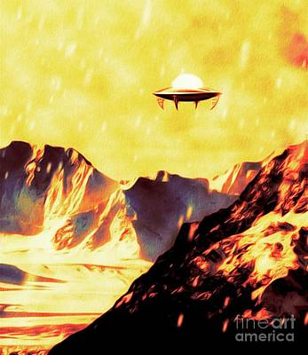 Science Fiction Royalty-Free and Rights-Managed Images - Yellow Dawn U.F.O. by Raphael Terra