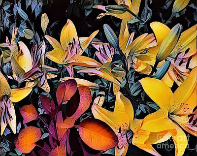 Photograph - Yellow Daylilies by Kathie Chicoine