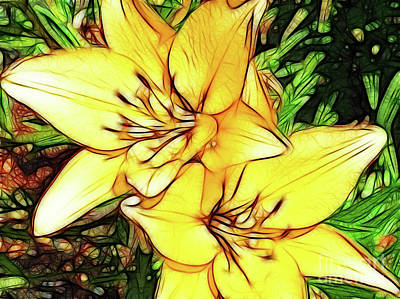 Digital Art - Yellow Daylilies by Methune Hively