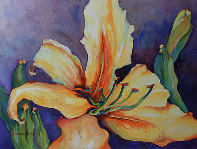 Yellow Daylily Original by Sharon Nelson-Bianco