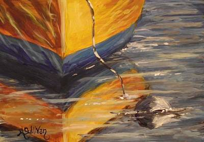 Bouys Painting - Yellow Dingy by Angela Sullivan