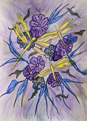 Yellow Dragonflies And Purple Flowers Abstract Original