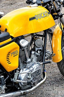 70s Photograph - Yellow Ducati by Tim Gainey