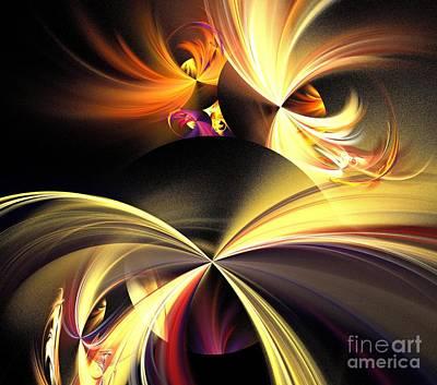 Solar Eclipse Digital Art - Yellow Eclipse Wishes by Kim Sy Ok
