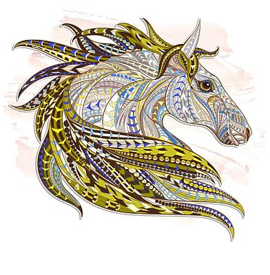 Painting - Yellow Ethnic Horse by Aloke Creative Store