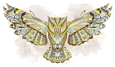 Painting - Yellow Ethnic Owl by Aloke Creative Store