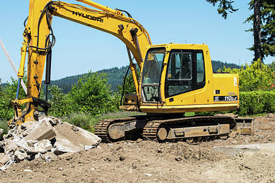 Photograph - Yellow Excavator In Anacortes by Tom Cochran