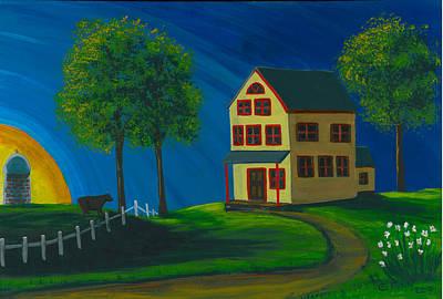 Art Print featuring the painting Yellow Farm House by Gail Finn