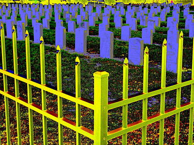 Digital Art - Yellow Fence by Larry Beat
