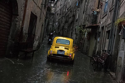 Photograph - Yellow Fiat, Italy by Kathleen McGinley