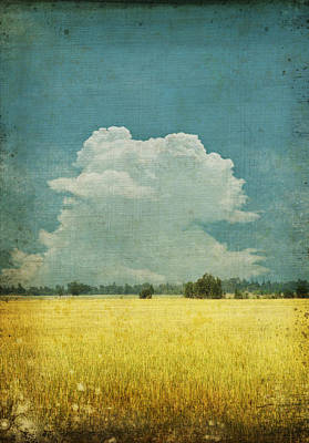 Fields Digital Art - Yellow Field On Old Grunge Paper by Setsiri Silapasuwanchai