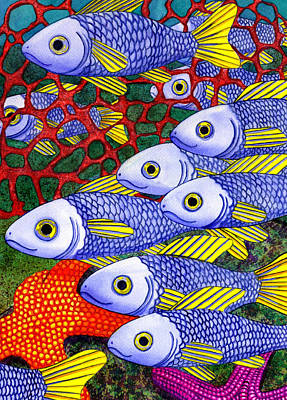 Modern Sophistication Line Drawings - Yellow Fins by Catherine G McElroy