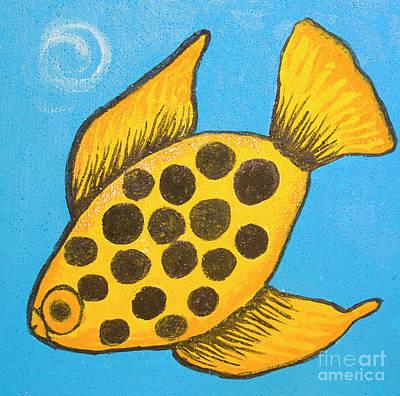 Painting - Yellow Fish On Blue by Irina Afonskaya