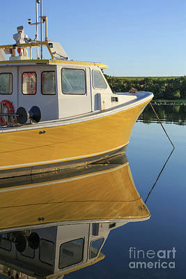 Princes Photograph - Yellow Fishing Boat Early Morning by Edward Fielding