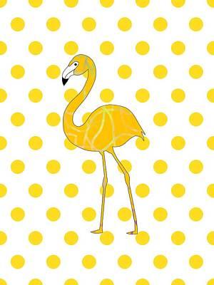Digital Art - Yellow Flamingo by Kathleen Sartoris