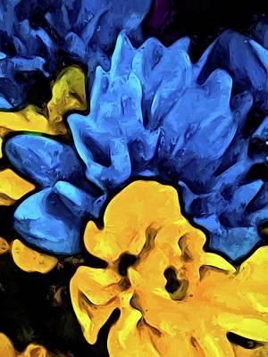 Digital Art - Yellow Flower And Blue Flowers by Jackie VanO