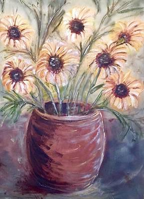Painting - Yellow Flower Arrangement by Chuck Gebhardt
