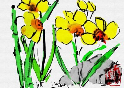 Digital Art - Yellow Flower Mornin by Debbi Saccomanno Chan