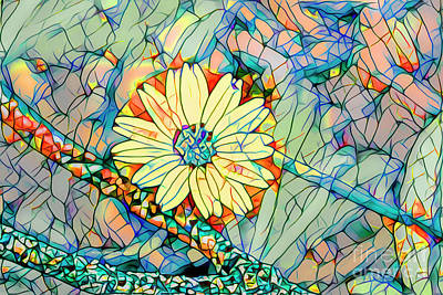 Abstract Flowers Mixed Media - Yellow Flower Mosaic by Deborah Benoit