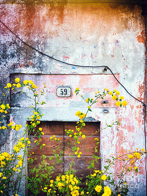 Photograph - Yellow Flowers And Decayed Wall by Silvia Ganora
