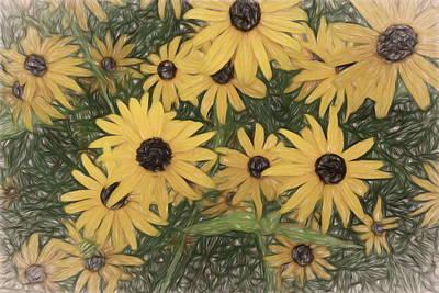 Digital Art - Yellow Flowers  by Ann Powell