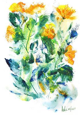 Painting - Yellow Flowers by Asha Sudhaker Shenoy