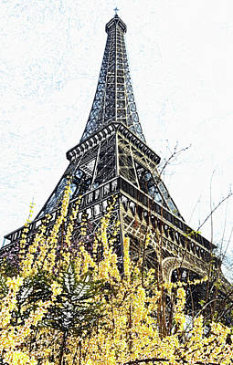 Digital Art - Yellow Flowers Blooming Beneath The Eiffel Tower Springtime Paris France Colored Pencil Digital Art by Shawn O'Brien